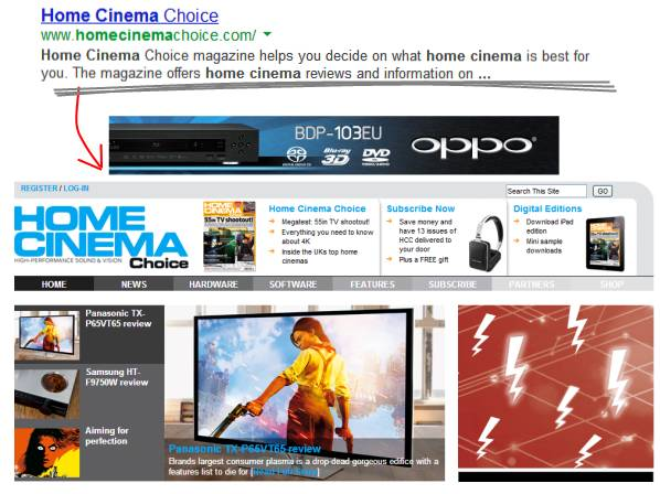 home cinema site and result